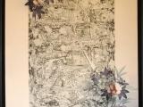 Jim Powlan Black Mirror on Floral Kimono Silk